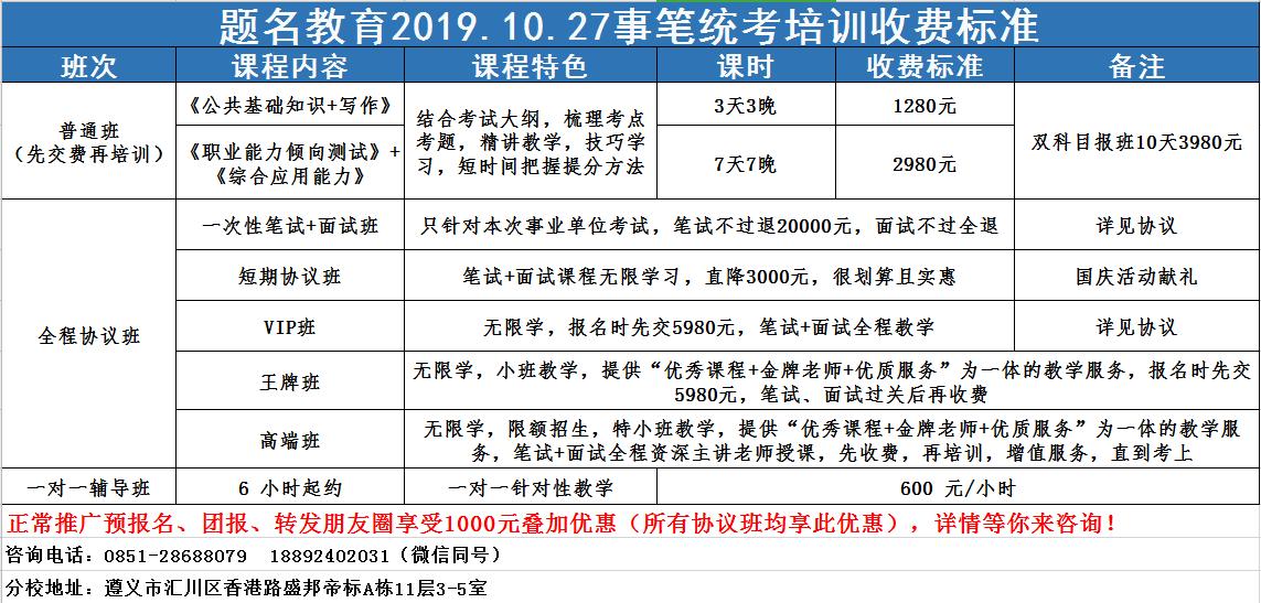 2019年题名教育遵义分校10.27事业单位笔试班10月10日早上9:00开课啦!!!