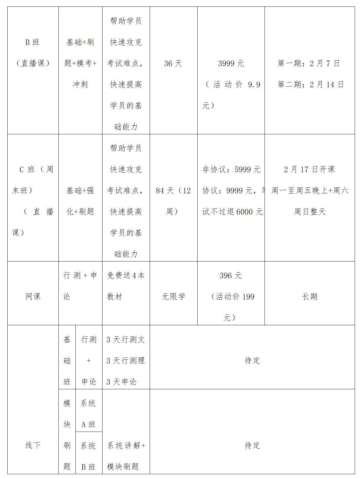 题名教育2020年省考笔试线上直播课程表